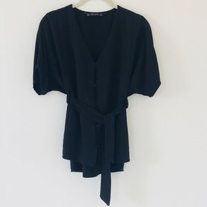 Zara Black Button Down Tie Blouse